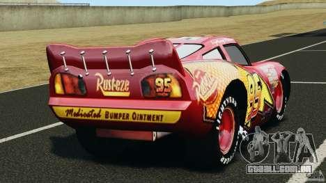 Lightning McQueen para GTA 4 traseira esquerda vista