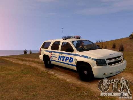 Chevrolet Tahoe New York Police para GTA 4 traseira esquerda vista