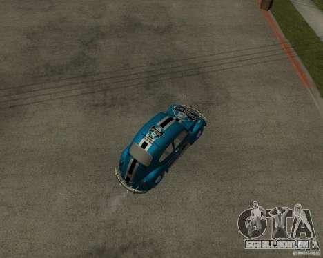 VW Fusca Gremio para GTA San Andreas traseira esquerda vista