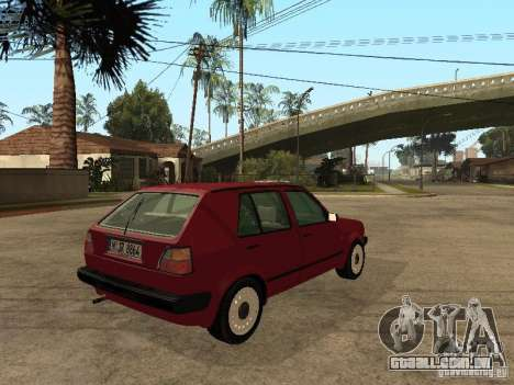 Volkswagen Golf MKII 5dr para GTA San Andreas traseira esquerda vista