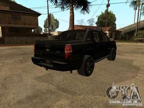 Chevrolet Avalanche Police para GTA San Andreas traseira esquerda vista