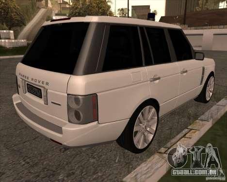 Land Rover Range Rover Supercharged para GTA San Andreas traseira esquerda vista
