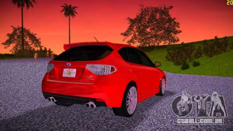 Subaru Impreza WRX STI (GRB) - LHD para GTA Vice City vista traseira esquerda