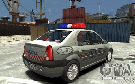 Dacia Logan Prestige Politie para GTA 4 vista direita