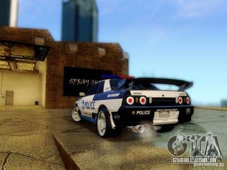 Nissan Skyline R32 Police para GTA San Andreas esquerda vista