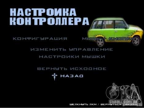 O novo menu do jogo para GTA San Andreas por diante tela