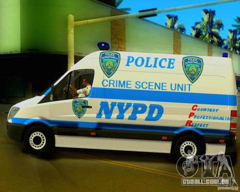Mercedes Benz Sprinter NYPD police para GTA San Andreas esquerda vista