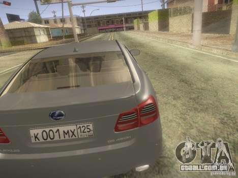 Lexus GS450H para GTA San Andreas traseira esquerda vista