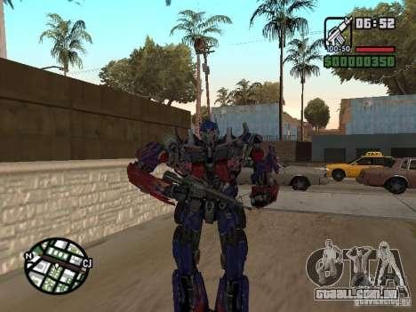 Optimus Prime para GTA San Andreas por diante tela