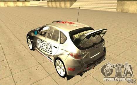 Subaru Impreza WRX STi com novo vinil original para GTA San Andreas traseira esquerda vista