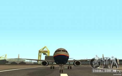 Boeing 737-800 para GTA San Andreas traseira esquerda vista