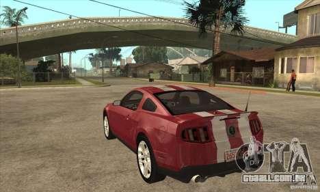 Shelby GT500 2010 para GTA San Andreas traseira esquerda vista