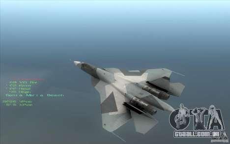 SU t-50 Pak FA para GTA San Andreas esquerda vista