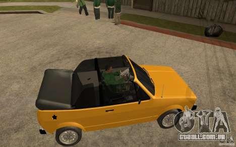 Volkswagen Golf MK1 Cabrio para GTA San Andreas vista direita