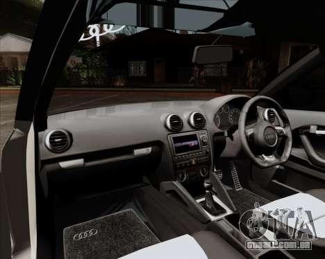 Audi S3 V.I.P para GTA San Andreas vista interior