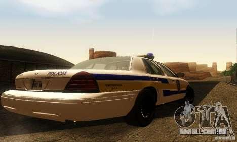 Ford Crown Victoria Puerto Rico Police para GTA San Andreas esquerda vista