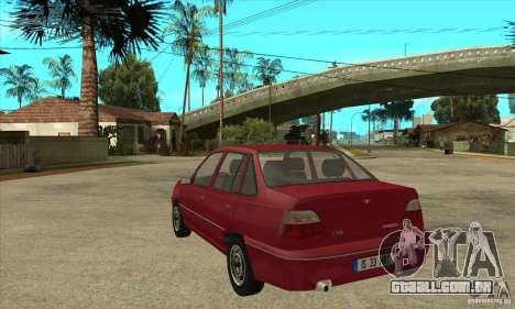 Daewoo Nexia para GTA San Andreas traseira esquerda vista