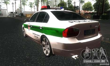 BMW 330 E90 Policija para GTA San Andreas traseira esquerda vista