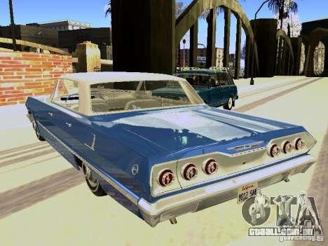 Chevrolet Impala 4 Door Hardtop 1963 para GTA San Andreas vista direita