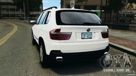BMW X5 xDrive48i Security Plus para GTA 4 traseira esquerda vista