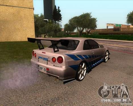 Nissan Skyline R-34 GT-R M-spec Nur para GTA San Andreas vista interior