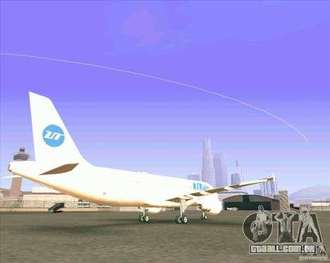 Avião Airbus A-320 UTair para GTA San Andreas traseira esquerda vista