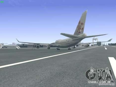 Boeing 747-400 China Airlines para GTA San Andreas traseira esquerda vista