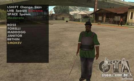 Skin Selector v2.1 para GTA San Andreas por diante tela
