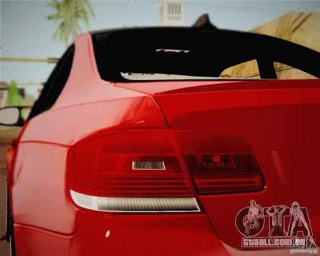 BMW M3 E92 v2.0 para GTA San Andreas traseira esquerda vista