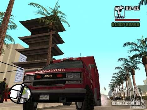 Ambulância de GTA IV para GTA San Andreas traseira esquerda vista