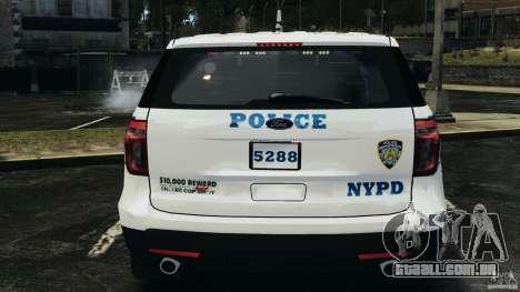 Ford Explorer NYPD ESU 2013 [ELS] para GTA 4 vista superior