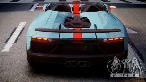 Lamborghini Aventador J 2012 Gulf para GTA 4 traseira esquerda vista