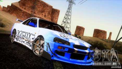 Nissan Skyline R34 Drift para as rodas de GTA San Andreas