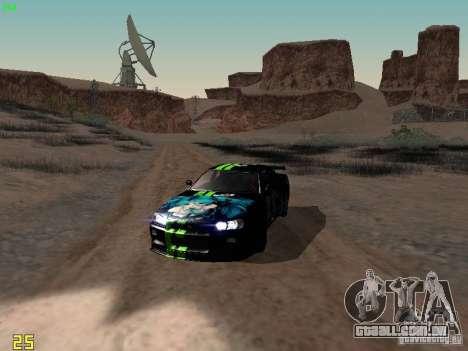 Nissan Skyline GT-R R34 V-Spec para GTA San Andreas vista interior