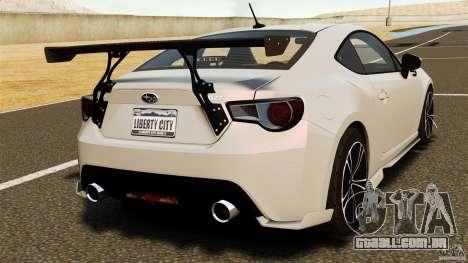 Subaru BRZ Rocket Bunny Aero Kit para GTA 4 traseira esquerda vista