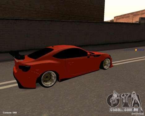 Scion FR13 para GTA San Andreas traseira esquerda vista