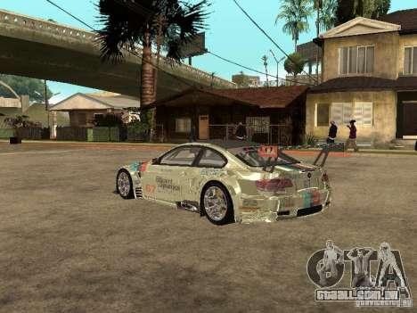 BMW M3 GT2 para GTA San Andreas traseira esquerda vista