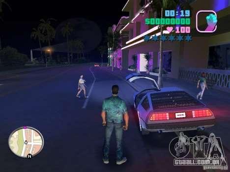 Delorean DMC-12 para GTA Vice City vista traseira esquerda