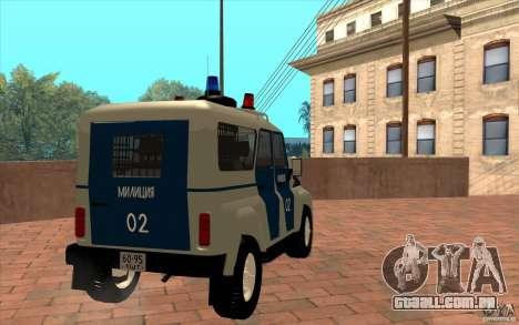 Polícia Bobik UAZ-3159, v. 2 para GTA San Andreas vista direita