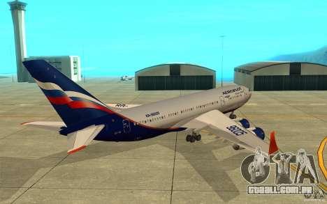 O IL-96-300 Aeroflot em novas cores para GTA San Andreas vista direita