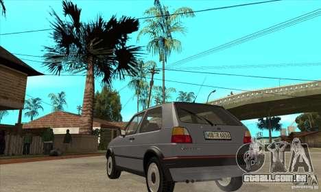Volkswagen Golf 2 GTI 1984 para GTA San Andreas traseira esquerda vista