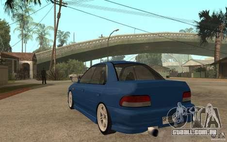 Subaru Impreza GC8 JDM SPEC para GTA San Andreas traseira esquerda vista