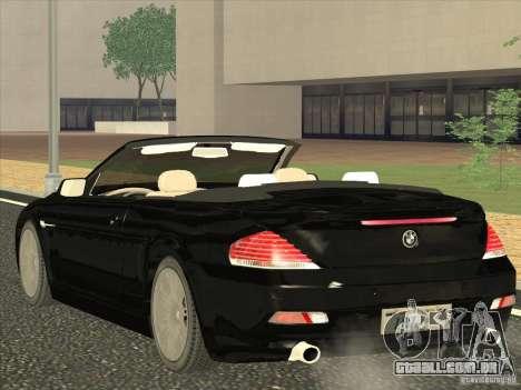 BMW 650I para GTA San Andreas traseira esquerda vista