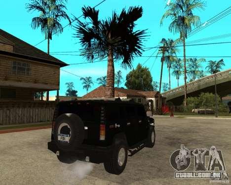 AMG H2 HUMMER SUV FBI para GTA San Andreas traseira esquerda vista