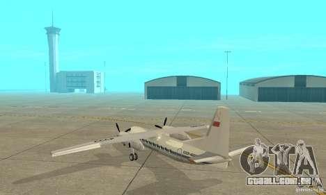 Antonov an-24 para GTA San Andreas traseira esquerda vista