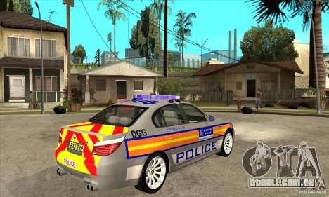 Metropolitan Police BMW 5 Series Saloon para GTA San Andreas vista direita
