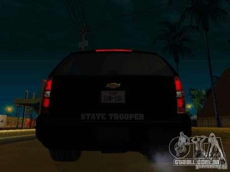 Chevrolet Tahoe Texas Highway Patrol para GTA San Andreas traseira esquerda vista