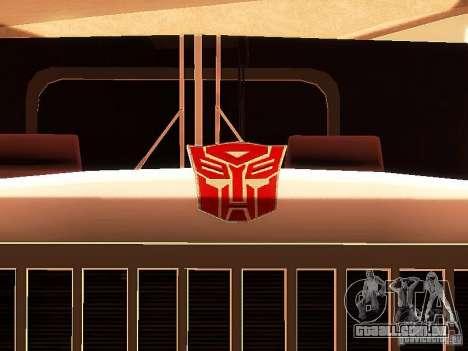 Truck Optimus Prime v2.0 para vista lateral GTA San Andreas