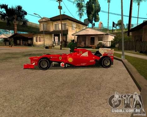 Ferrari Scuderia F2012 para GTA San Andreas esquerda vista