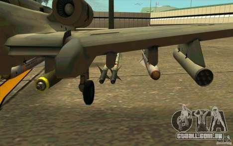 A-10 Warthog para GTA San Andreas vista traseira